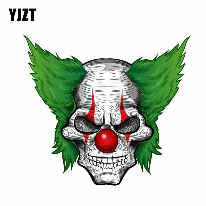 YJZT 14.8CM*13.3CM Reflective Funny Car Sticker Skull Clown Motorcycle Decal 6-0693