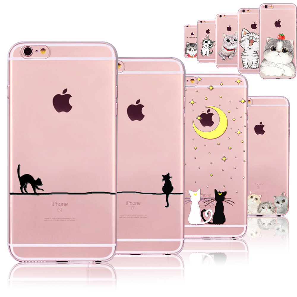 Gatos lindos cajas del teléfono para iphone 6 6s 7 7 plus 5 5S sí 6 más 6 splus