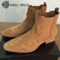 Kanye West Ботинки Челси 100% Пояса из натуральной кожи высокое качество Винтаж Мужские ботинки креп дно ботильоны от Челси ручной работы Для мужч