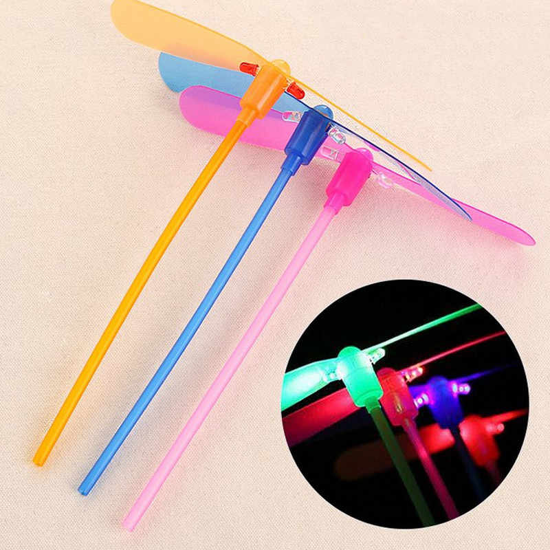 Children Baby Colorful LED Night Lighting Bamboo Dragonfly Outdoor Fly Glowing Bamboo-copter Flashing Fun Toys Gifts