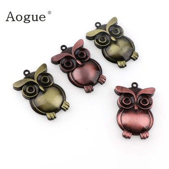 Fashion 3 Colors Jewelry Vintage Bronze Potter Owl Pendant Bird Charms Jewelry For Necklace or Key Chain image