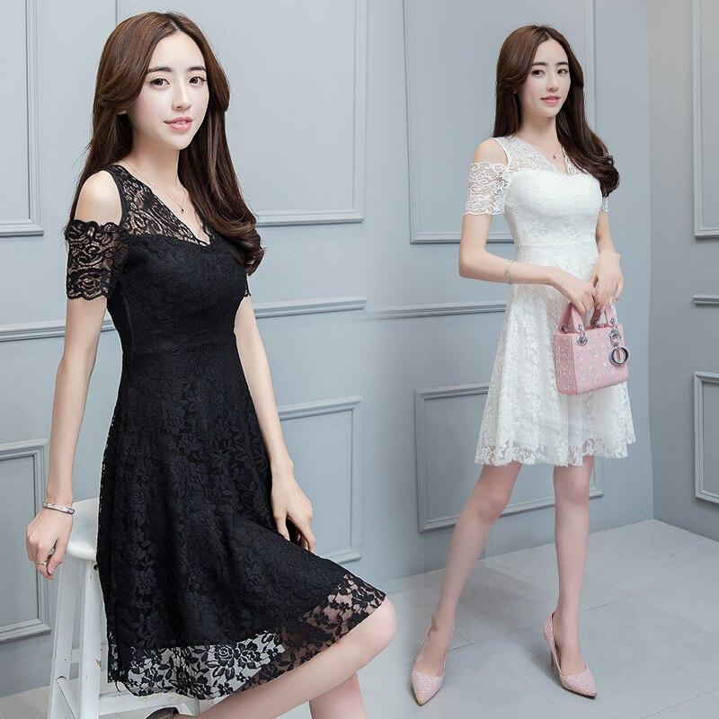 product new2017 women lace sexy off shoulder dress backless high waist elegant female dresses slim plus size v neck Hollow ladies dress