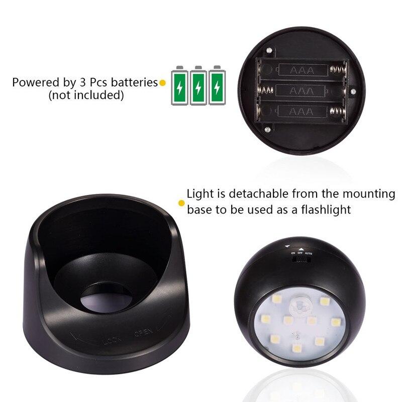 Image 4 - 9 LED Wireless Motion Sensor Night Light 360 Degree Rotation Night Light Night Lamp Wall Light Lamp Battery Power Auto On Off-in LED Night Lights from Lights & Lighting