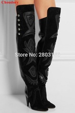 Newest Autumn winter women boots embroidery high heels over the knee boots pointed toe spike heel thigh high boots woman
