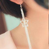 Tassel Earring - New Fashion High Quality Women Crystal Star Drop Long Tassel Chain Hook Dangle Linear Tassel Earring #1786895