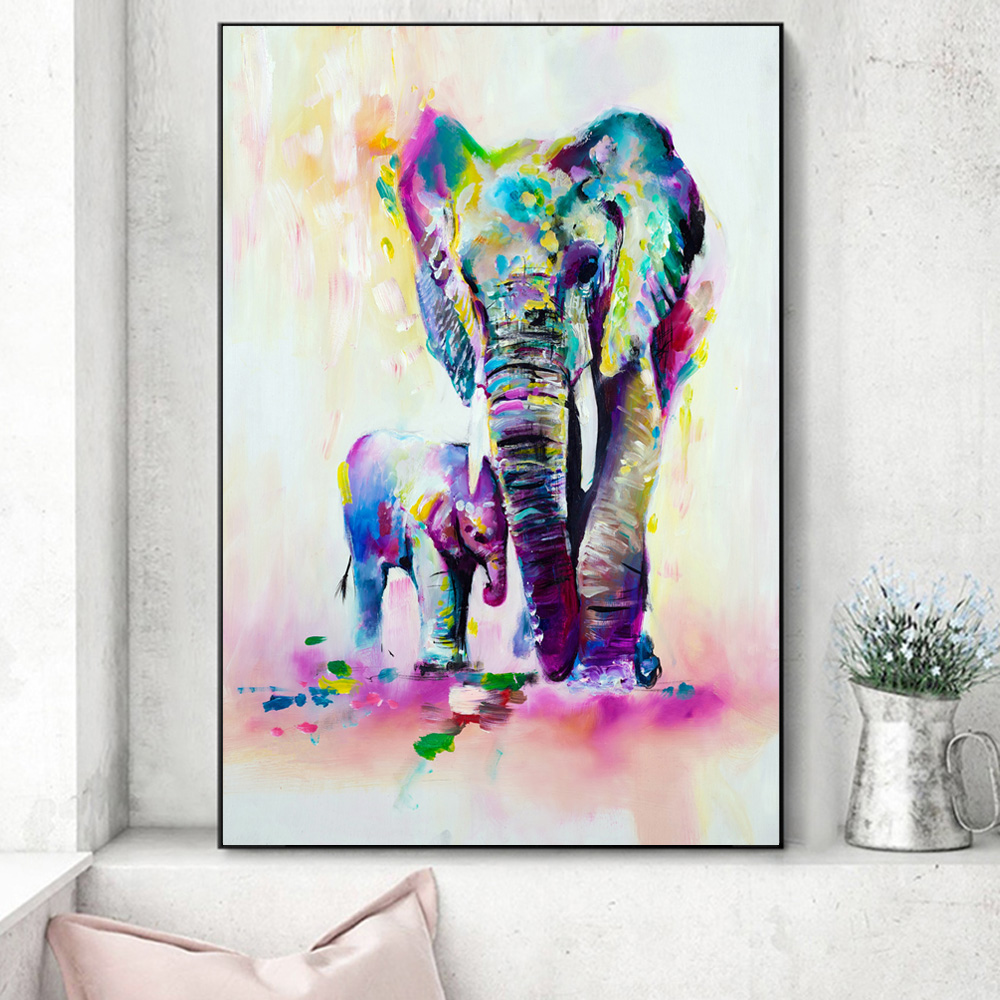 Us 4 05 45 Off Watercolor Elephants Wall Art Canvas Prints Abstract Wall Graffiti Animals Canvas Paintings Pop Wall Art Canvas For Kids Room In