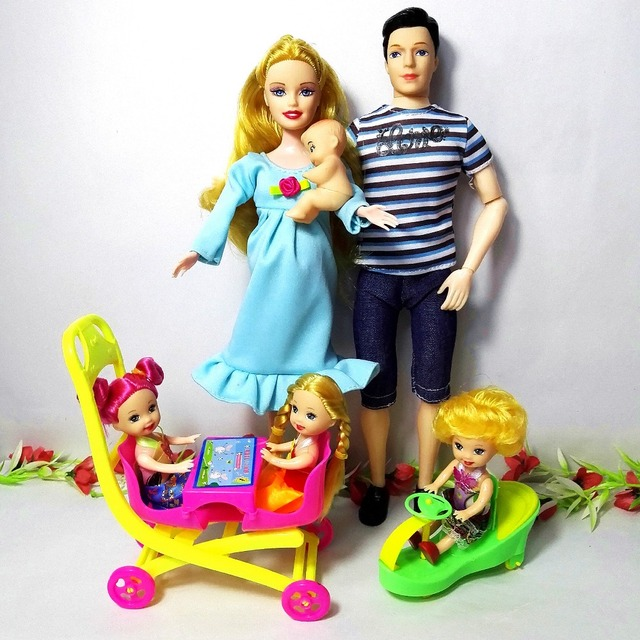 Fashion Doll Toys Family 6 People Dolls Suits 1Mom/1Dad /3 Little Kelly Girl /1Baby Son/2 Baby Carriage Real Pregnant Doll Gifts
