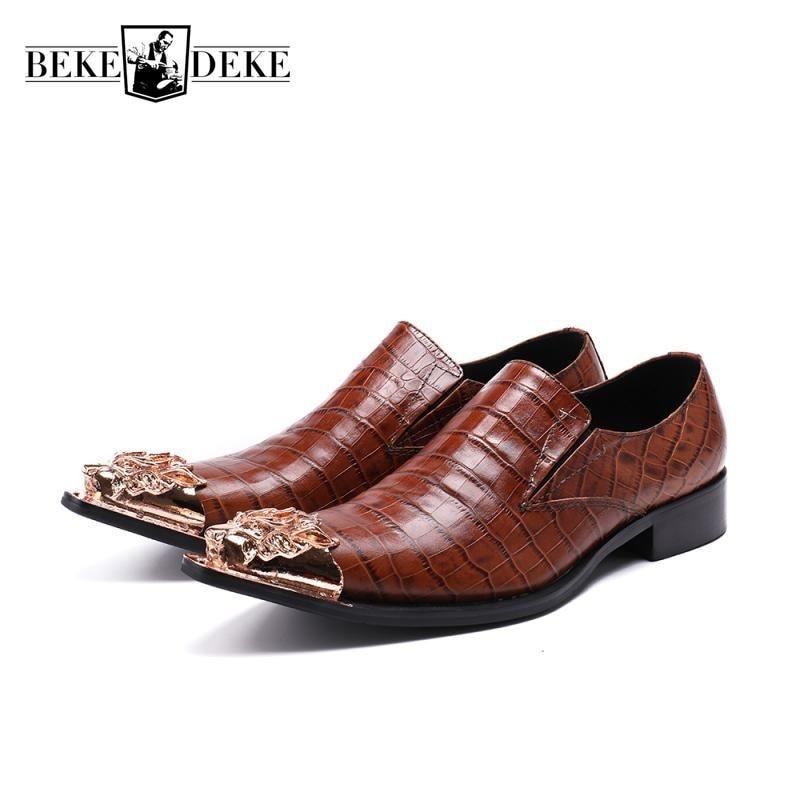 Vintage Brown Matel Toe Formal Shoes Men Office Work Business Man Footwear Genuine Leather Wedding Party Dress Shoes Large Size цена 2017