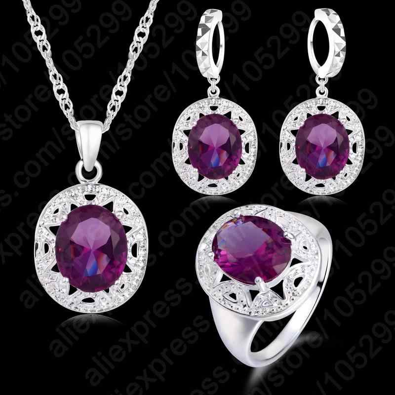 Crystal Pendant Necklace Earrings Ring Cubic Zircon Trendy Party 925 Sterling Silver Jewelry Sets Women New Design