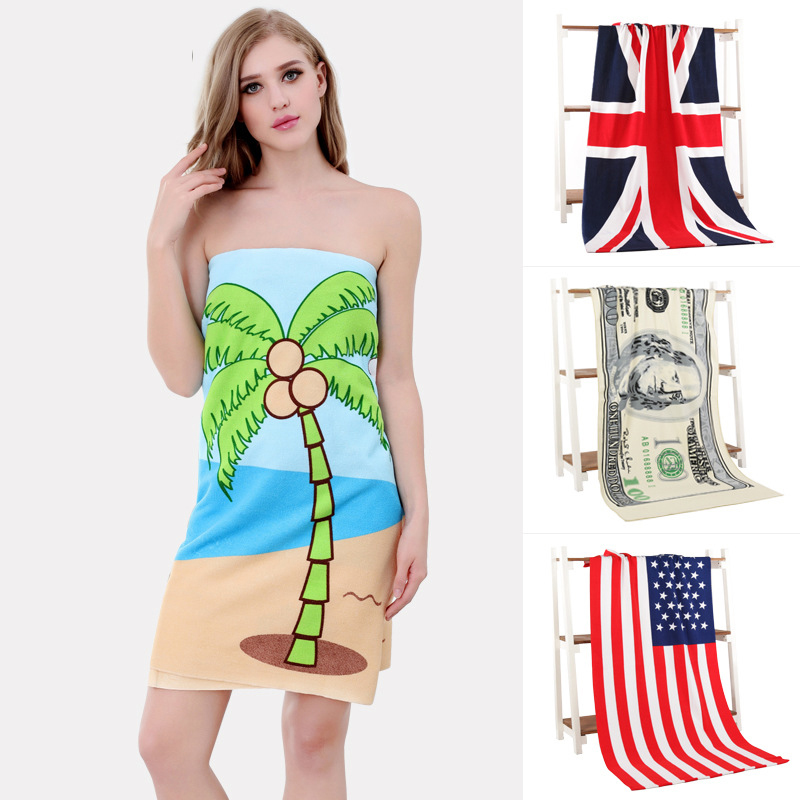 70x140cm microfiber printed rectangle beach towels serviette de plage bath towel fashion new money cartoon design - Cheap Beach Towels
