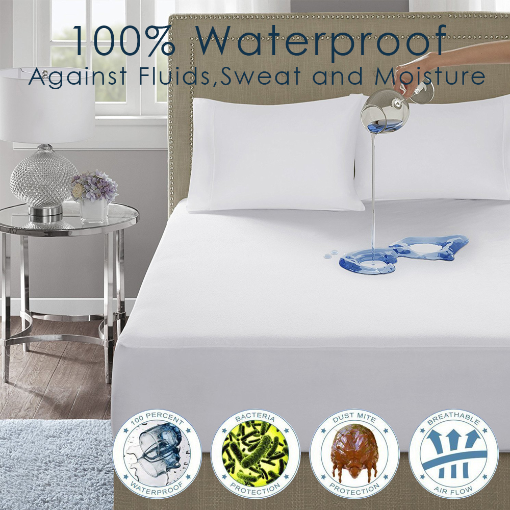 Waterproof Quilted Mattress Cover Pad Bed Bug Dust Mite Hypoallergenic Protector