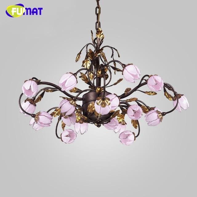 Fumat European Metal Chandeliers American Warm Light Room Chandelier Lightings Pink Glass Shade Led Artistic Flower