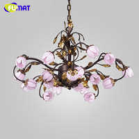 FUMAT European Metal Chandeliers American Warm Light Room Chandelier Lightings Pink Glass Shade LED Artistic Flower Chandelier
