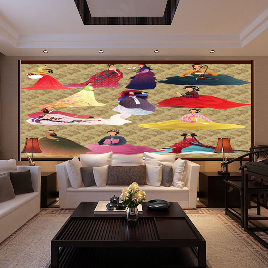 background living korean personalized decoration ladies murals features custom wallpapers
