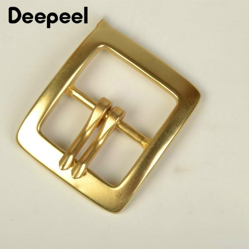Deepeel 1Pc 40mm Men Belt Buckle Snap Solid Brass Double Pin Buckle For Belt 37-38mm Waistband Belt Head DIY Jeans Accessories
