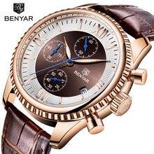BENYAR Mens Watch Fashion/Sport/Quartz Watch Men Wristwatch Mens Clock Top Brand Luxury Leather Watches Men Relogio Masculino