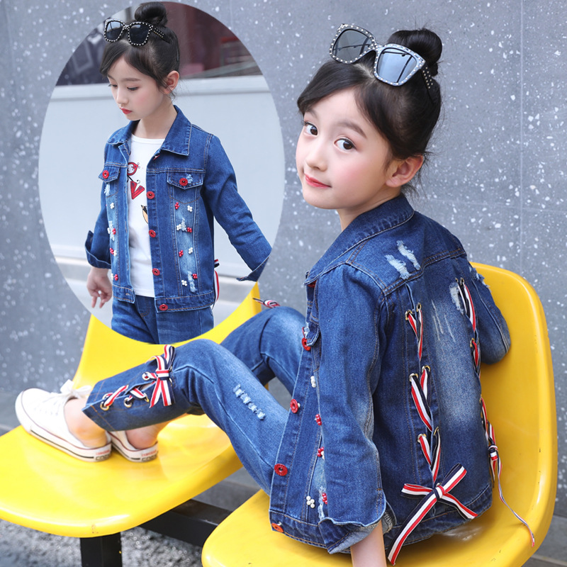Toddler Girls Clothing Set Casual Cotton Children Bandage Hole Denim Pant Suit Kids Clothes Boys 3 4 5 6 7 8 9 10 11 12 Years kids clothes boys 4 5 6 7 8 9 10 11 12 years washed denim shorts short sleeve t shirt summer casual children clothing set boy