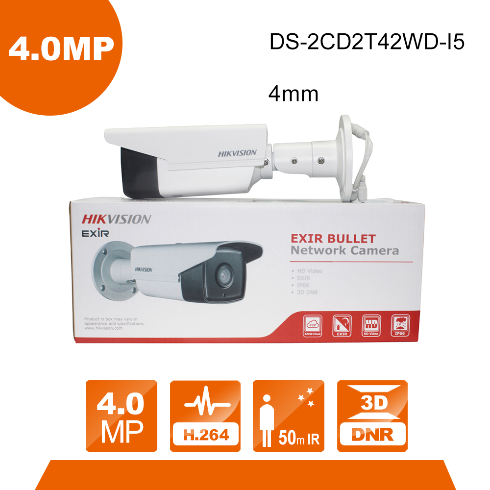 Hikvision DS-2CD2T42WD-I5 4mm lens CCTV Camera 4MP IR Bullet Network IP Camera IR 50m Meters English Version Upgradable tera камера видеонаблюдения hikvision ds 2cd2022wd i 4 mm ds 2cd2022wd i 4 mm