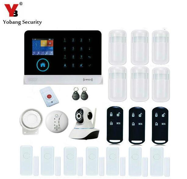 YoBang Security WIFI 3G GPRS RFID Home Office Burglar Alarm System APP Controls Video IP Camera Wireless Smoke Detector 433MHZ
