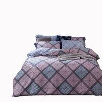 Fashion Regular Geometric Print Cotton Bedding Set Queen Size Plaid Customized Duvet Cover Soft Flat Sheet