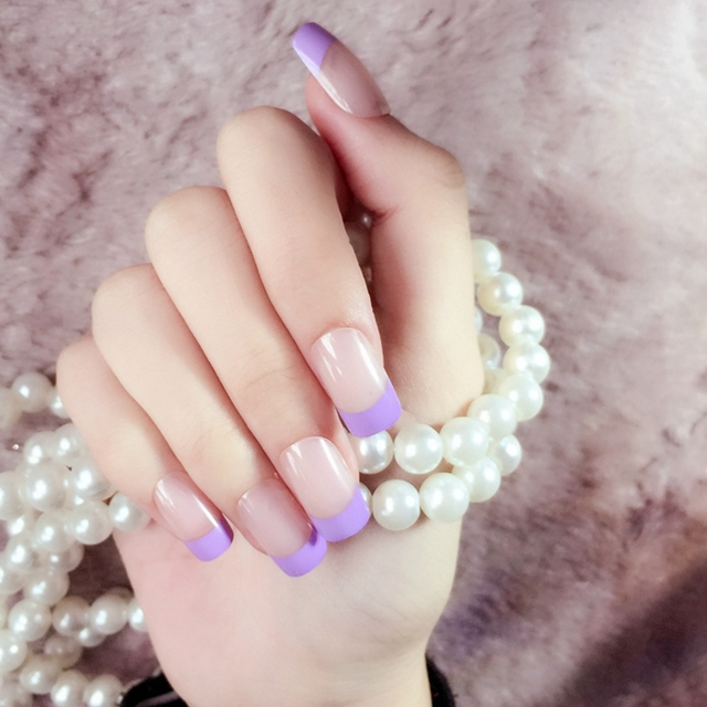 Classic French Acrylic Nails Purple Natural Color Medium Square ...