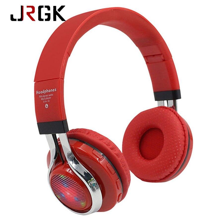 LED Light Bluetooth Wireless Headphone Support TF Card FM Radio Hand-free Headsets For iphone MP3 PC Earphone Handband With Mic