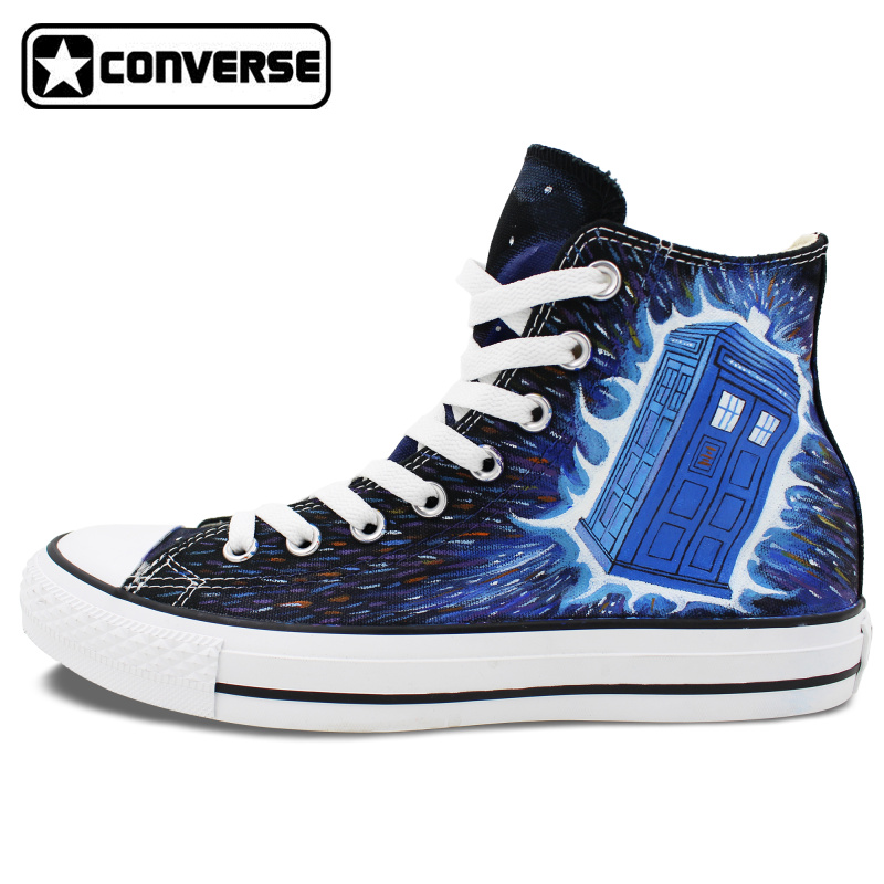 Man Woman Converse All Star font b Shoes b font Police Box Galaxy Design Hand Painted