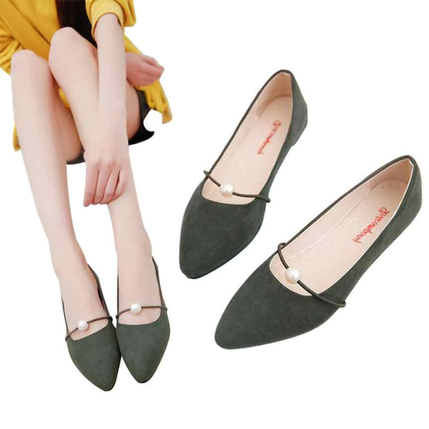 ... DA  Sleeper  4005 Women s Solid Color Suede low Heel Pearl Pointed toe Casual  Shoes ... 2631c3c13