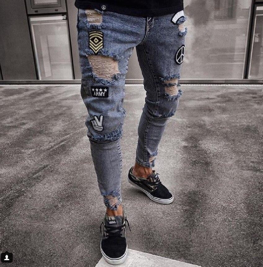 2020 Men Stylish Ripped Jeans Pants Biker Skinny Slim Straight Frayed Denim Trousers New Fashion skinny jeans men Clothes