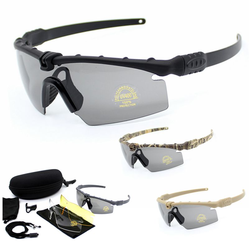 Polarized Tactical Goggles Men Outdoor Sunglasses Military Airsoft War Game Glasses Hunting Camping Tactical Glasses With 3 Lens