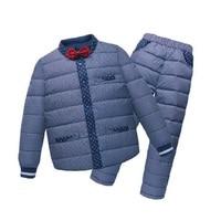 Children Boys Girls Winter Warm Down Jacket Suit Set Thicken Coat Down Pants Baby Clothes Set