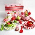 Japonés colorido comida en miniatura de madera juguetes kitechen cozinha de brinquedo strawberry Tea cake set para regalo de los cabritos