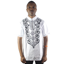 Africa White Ethnic Culture Embroidery men`s Tops Male Short Sleeved Kaftan Shirts for Summer
