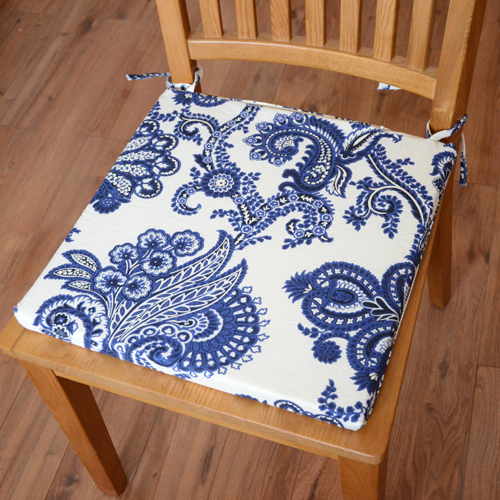 Chinese Style Quality Linen Fabric Upholstery Dining Chair Cushion Chair  Cushion Chair Cover Blue And White