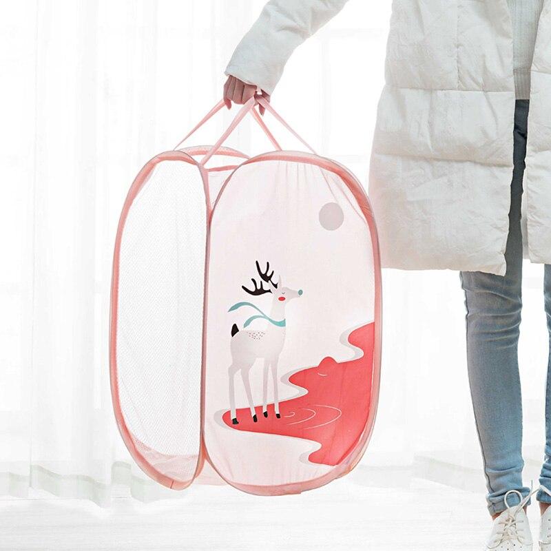 Cartoon Folding Laundry Basket Toy Storage Picnic Basket Box  (1)