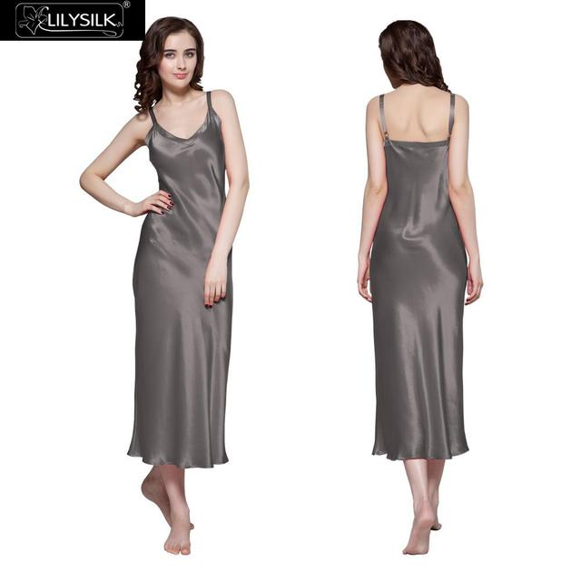 Lilysilk Silk Nightgowns Women Nightwear Modal Nightdress Wedding 22 Momme Dark Grey Luxury Long Lingerie Dress Sexy Sleepwear