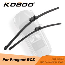 KOSOO For Peugeot RCZ 2009 2010 2011 2012 2013 2014 2015 2016 Fit Push Button Arm Auto Natural Rubber Wiper Blades Accessories bemost car natural rubber wiper blades for peugeot rcz 26 26r 2009 2010 2011 2012 2013 2014 2015 2016 fit push button arms