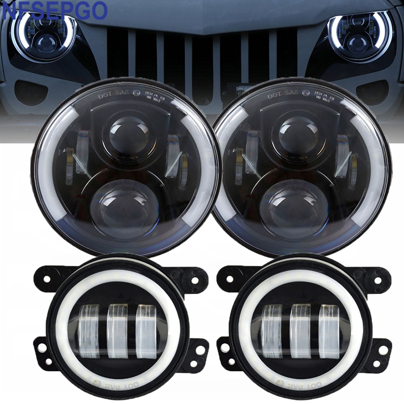 7 Inch Halo LED Headlight 4 halo Fog Lights Front Bumper Light Combo Kit For Jeep
