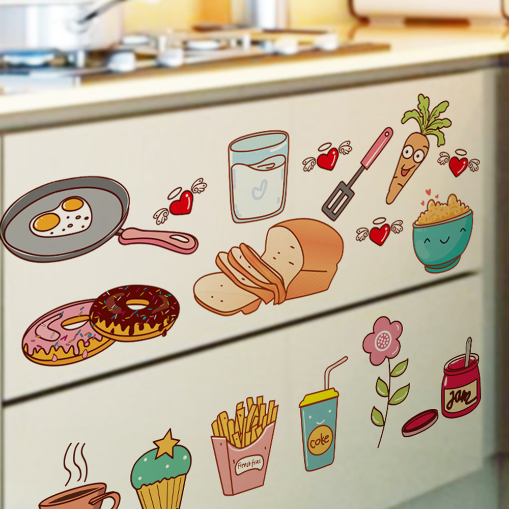 2018 Removable Kitchen Sticker Vinyl Material Diy Cartoon Cooking