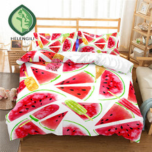 HELENGILI 3D Bedding Set Fruit watermelon Print Duvet Cover Lifelike Bedclothes with Pillowcase Bed Home Textiles #XG-02