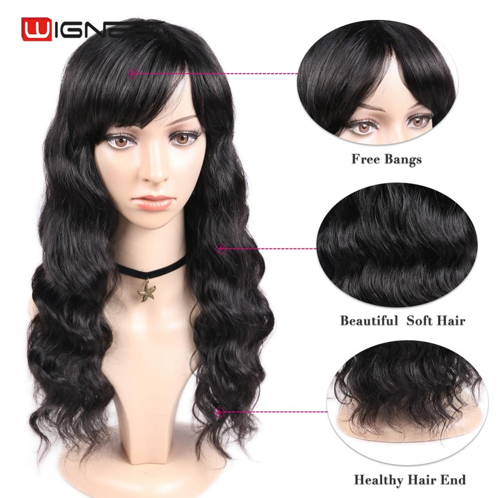 Wignee Remy Brazilian Human Hair Wig With Free Bangs For Black/White Women Glueless Hair Loose Deep Wave Human Wig Drop Shipping