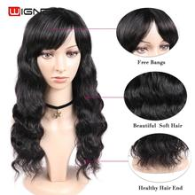 Wignee Remy Brazilian Human Hair Wig for Black/White Women Loose Wave Natural Black Hair Human Wig With Free Bangs Drop Shipping women short culry wavy wig real human hair side bangs wave wig wine red