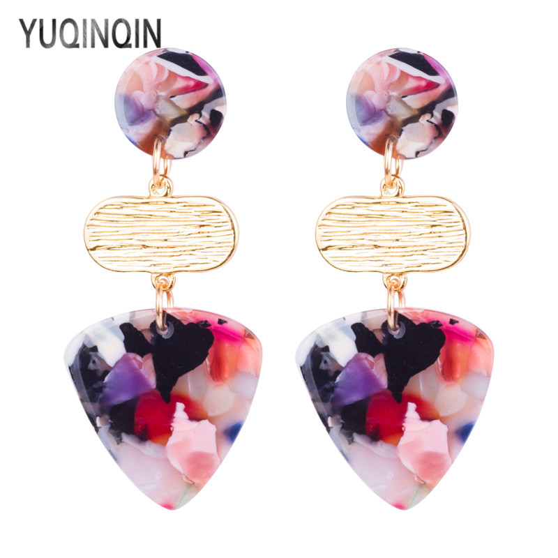 Vintage Drop Acrylic Earrings for Women 2018 Statement Long Geometric Acetic Acid Metal Dangling Elegant Fashion