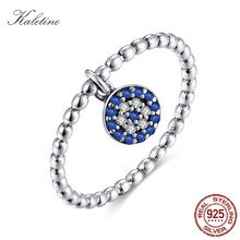 8b27918b470c KALETINE ojo afortunado anillo 925 anillos de plata azul Evil Eyes colgante  encanto CZ lindo rizo para las mujeres joyería de pl.