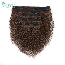 MQYQ Hair 12inch Clip in Hair Extensions Kinky Curly Black Brown Brazilian Human hair 6pcs Non Remy Hair
