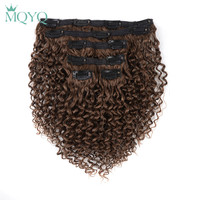 MQYQ Hair 12inch Clip in Hair Extensions Kinky Curly #3 Light Brown Brazilian Human hair 6pcs 100% Real Clip on Human Hair