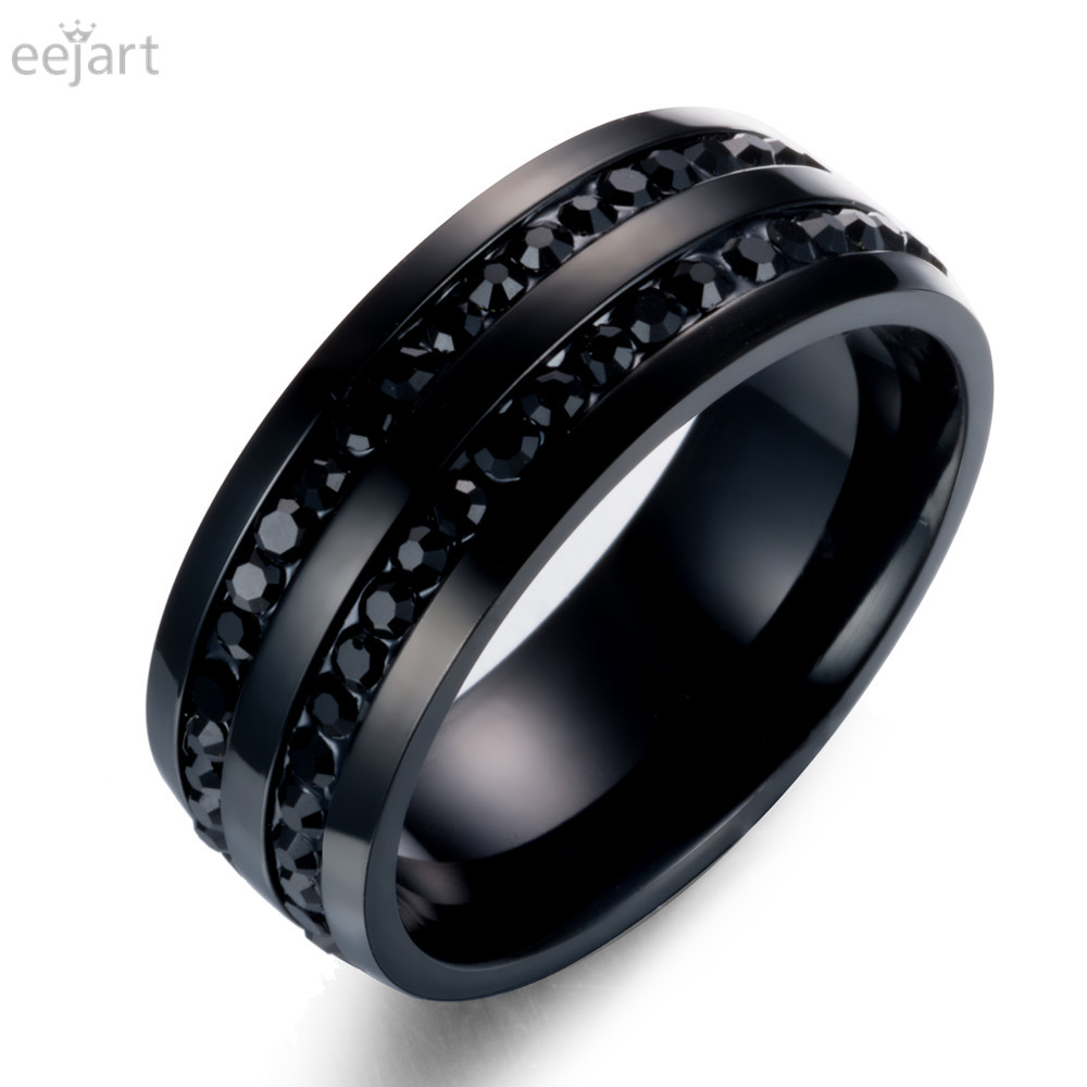 eejart Black Crystal Rings For Women Stainless Steel Rhinestone Wedding Ring