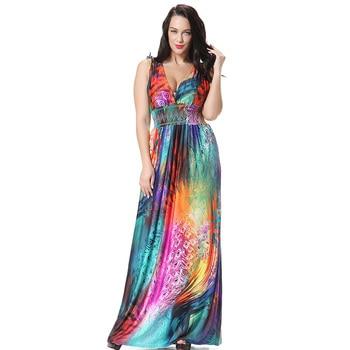 44534b623cef0c7 Женские макси длинные платья плюс размер 5xl 6xl 7xl большой пляжный  сарафан без рукавов большой богемный 4xl тонкий XXXL бохо платье Лето 2018