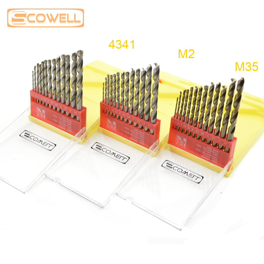 35% OFF SCOWELL 13 pcs HSS M2 drill bits set metal drilling HCO M35 Cobalt Drill Bit 1.5mm - 6.5mm HSS jobber drill for metal doersupp 5pcs hss cobalt multiple hole 50 sizes step drill bit set w aluminum case metal drilling top quality