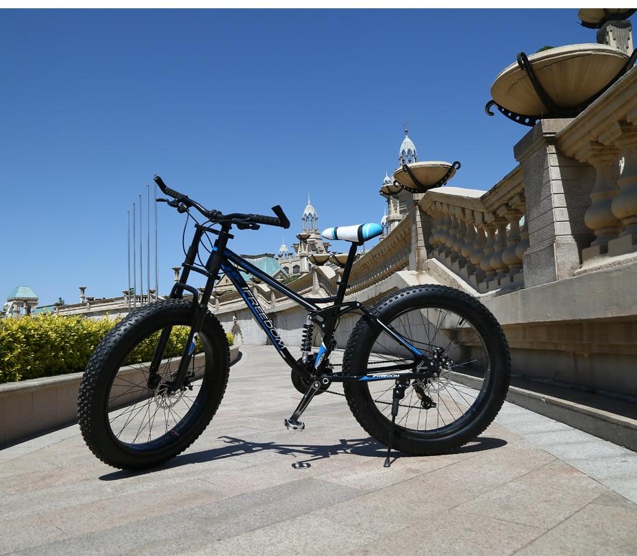 HTB1UqjJegHqK1RjSZFPq6AwapXa0 Love Freedom High Quality Bicycle 21/24 Speed Mountain Bike 26 Inch 4.0 Fat Tire Snow Bike Double disc Shock Absorbing Bicycle